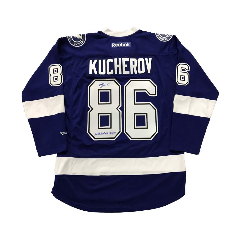 NIKITA KUCHEROV Signed Tampa Bay Lightning Blue Reebok Jersey with 1st NHL Hat Trick Inscription