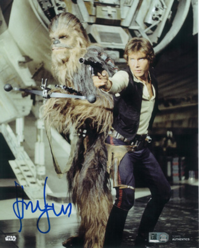 Harrison Ford as Han Solo Autographed Blue Ink 8x10 Photo