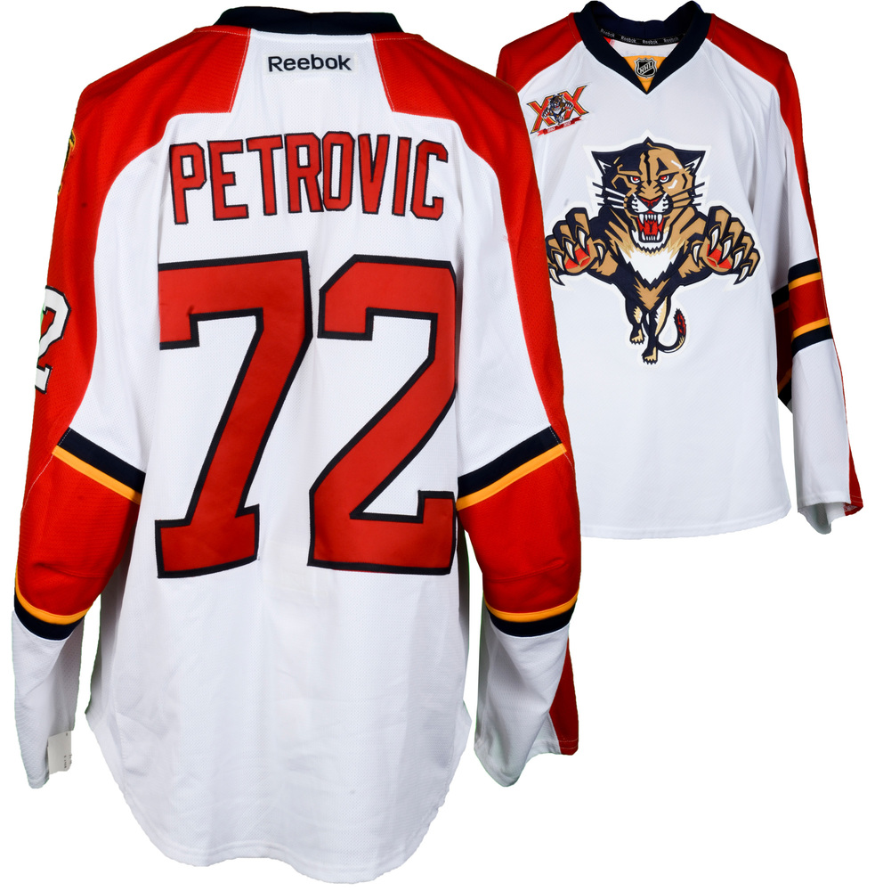 Alex Petrovic Florida Panthers Game-Used #72 White Jersey from the 2013-14 NHL Season - Size 56