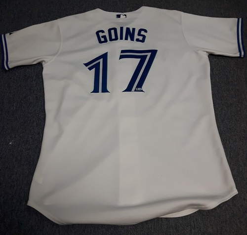 Photo of Authenticated Game Used Jersey - #17 Ryan Goins (August 27, 2013): 2-for-3 with 1 Run. Size 46.