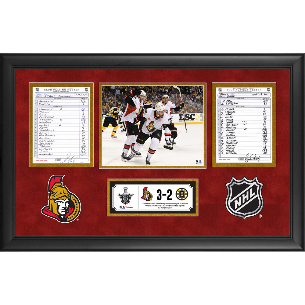 Ottawa Senators Framed Game-Used Playoffs Game 6 Line-Up Cards, April 23, 2017 vs. Boston Bruins - Clarke MacArthur's Overtime Game-Winning Goal