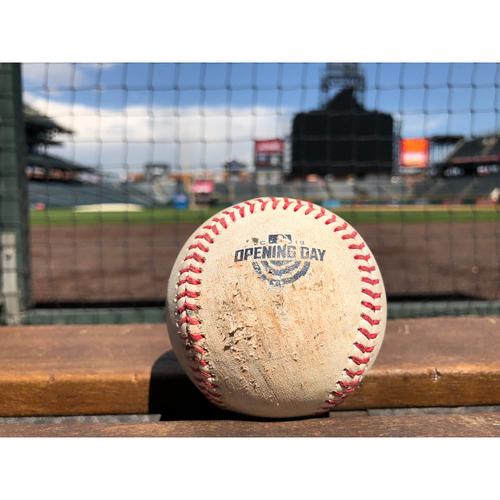 Photo of Colorado Rockies Game-Used Baseball - Rusin v. Freeman - Foul - April 6, 2018