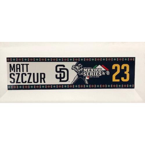 Photo of 2018 Mexico Series - Matt Szczur Game-Used Locker Tag