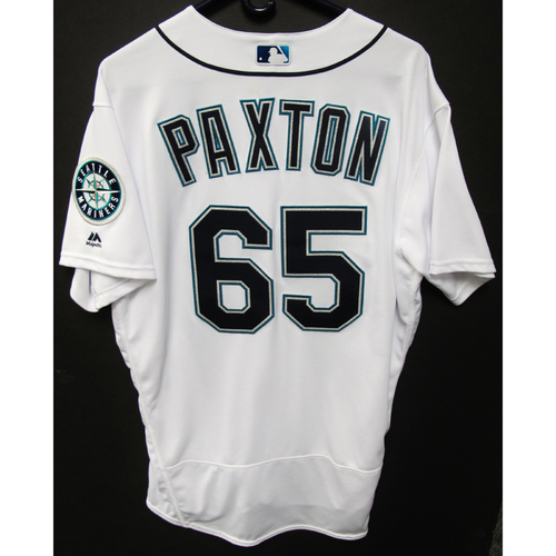 Photo of Seattle Mariners James Paxton Game Used 2018 White Jersey (5/30/18)