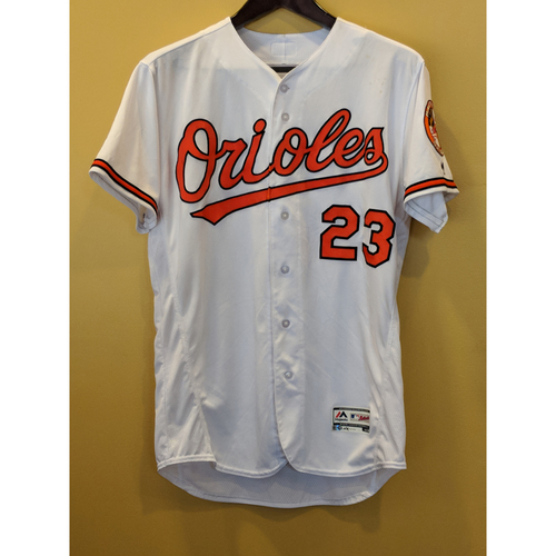 Photo of Joey Rickard Game-Used Home Jersey Worn on September 16, 2018 vs Chicago White Sox. Size 46.