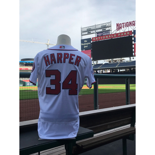 Photo of Game-Used Bryce Harper 2018 Home White Jersey with All Star Game Patch
