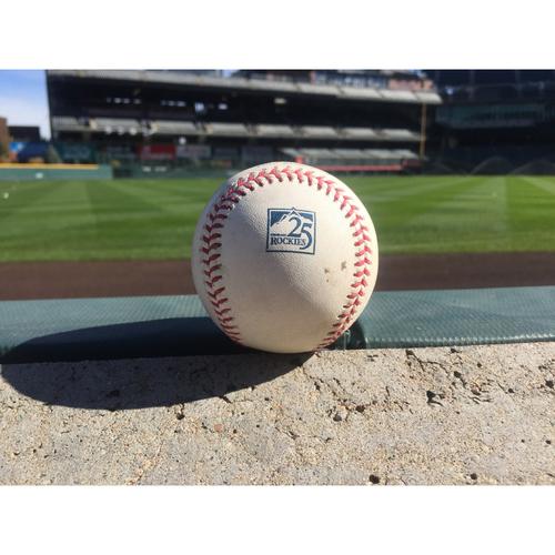 Photo of Colorado Rockies Game-Used Baseball - Jon Gray v. Cody Bellinger - RBI Doubles (27) to Gonzalez, Machado scores - September 7, 2018