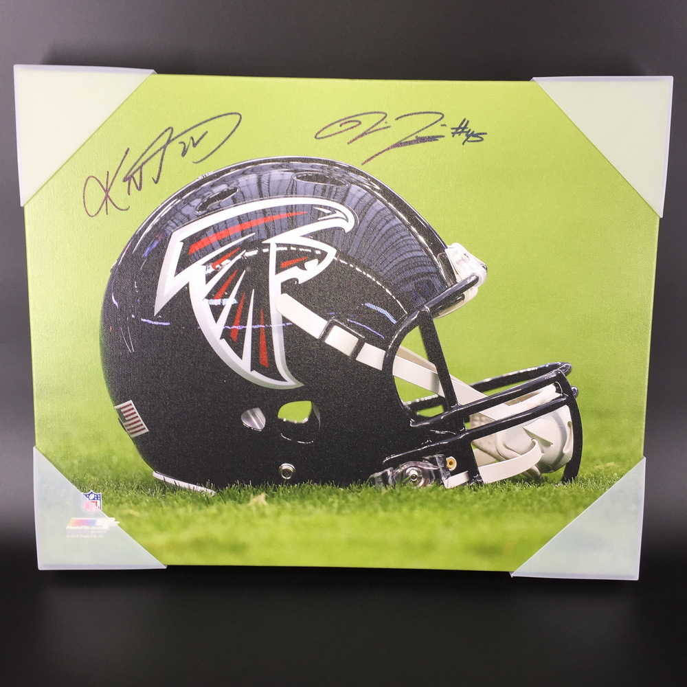 NFL - FALCONS KEANU NEAL AND DEION JONES SIGNED 16X20 FALCONS LOGO CANVAS PRINT