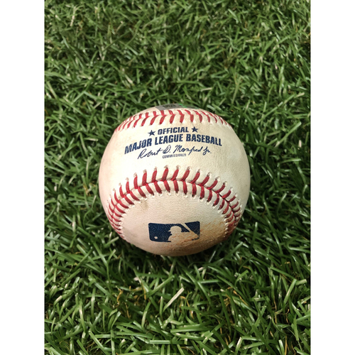 Photo of Game Used Baseball: C.J. Cron strikeout, Marwin Gonzalez strikeout and Miguel Sano double off Chaz Roe - June 2, 2019 v MIN