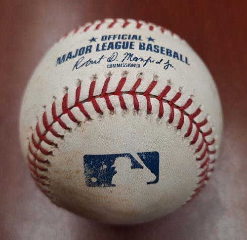 Photo of Authenticated Game Used Baseball - Strikeout by Nick Pivetta against Billy McKinney (August 25, 2018 vs PHI). Bottom 1.