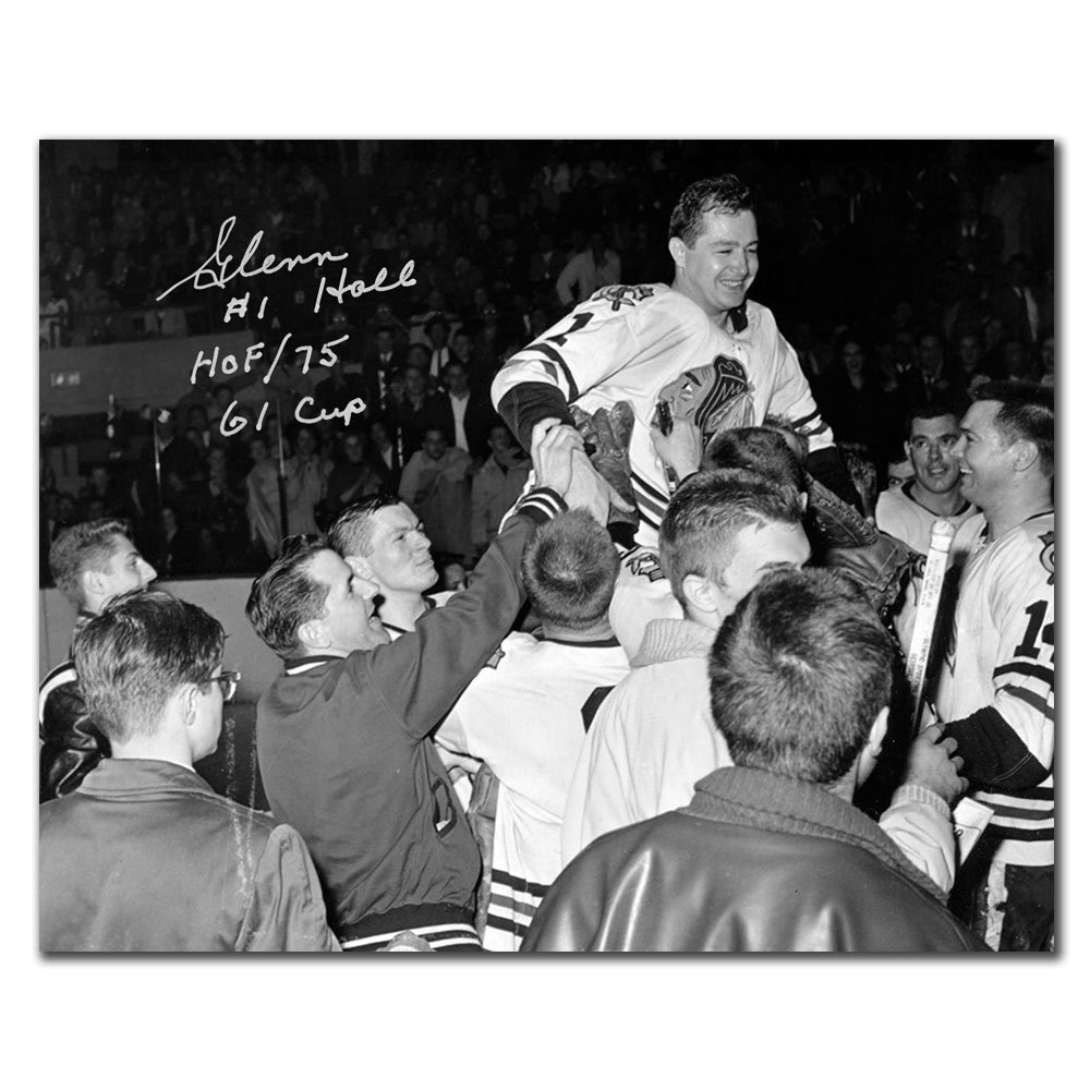 Glenn Hall Chicago Blackhawks 1961 STANLEY CUP Autographed 8x10