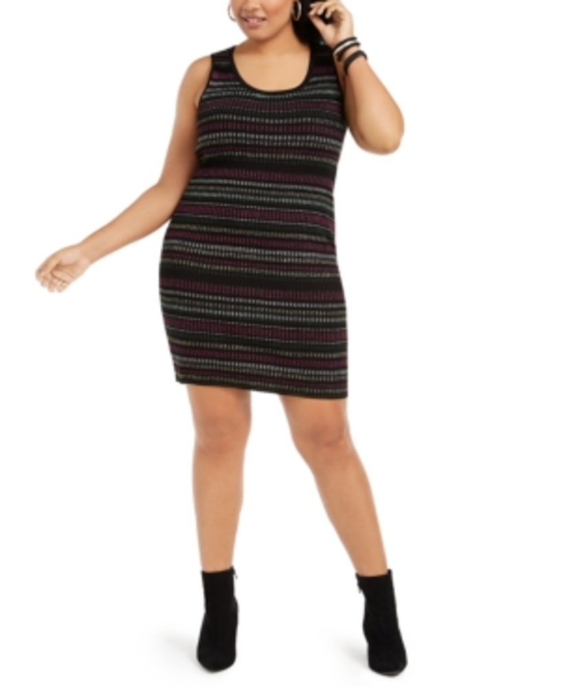 Photo of Derek Heart Trendy Plus Size Metallic-Stripe Bodycon Dress