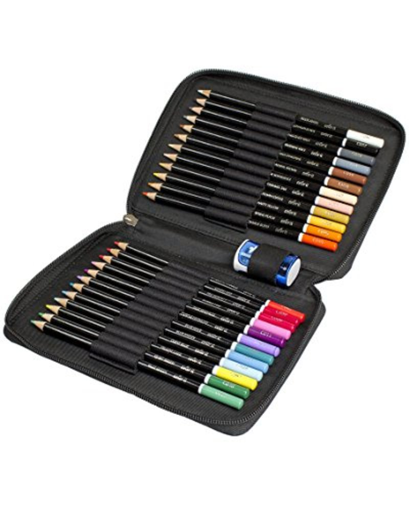 Photo of ColorIt Colored Pencil Set of 24 - Includes Premium Colored Pencils, Travel Case and Pencil Sharpener - Perfect Coloring Pencils for Adult Coloring Books with Bright Colors