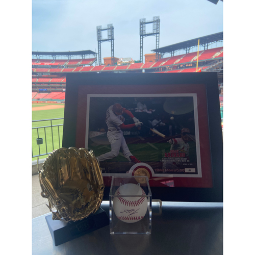 Photo of Cardinals Authentics: Nolan Arenado Package *Framed Photo, Autographed Baseball, and Autographed Mini Gold Glove*