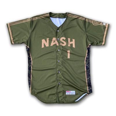 #21 Game Worn Military Jersey, Size 46, worn by Patrick Wisdom & Christian Kelley.