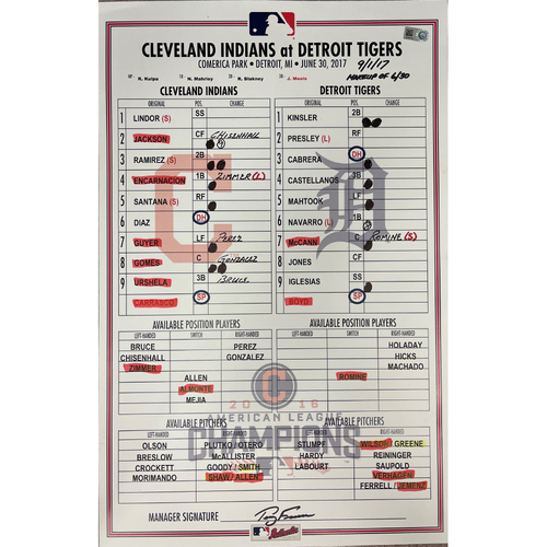 Photo of Game Used Line-Up Card - 9/1/2017 Indians at Tigers