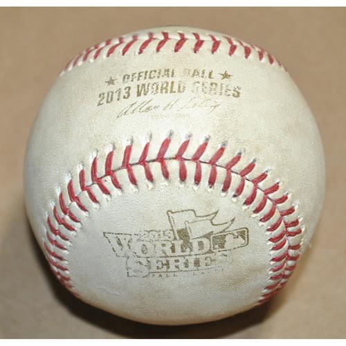 Photo of Game-Used Baseball - 2013 World Series Game 3 - St. Louis Cardinals vs. Boston Red Sox - Batter: Matt Adams, Pitcher: Felix Doubront, Double, Bot 5