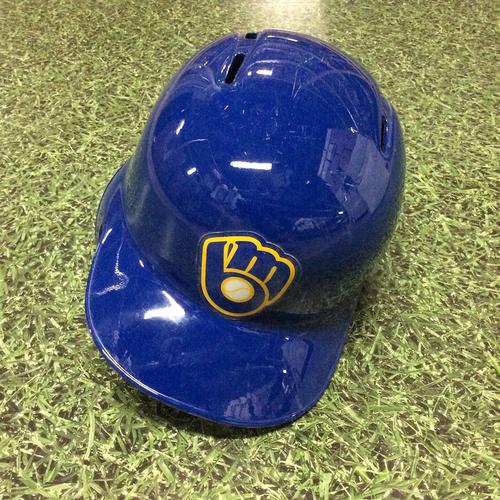 Photo of Kirk Nieuwenhuis 06/24/16 Royal Ball&Glove Logo Game-Used Batting Helmet - 2-Run HR