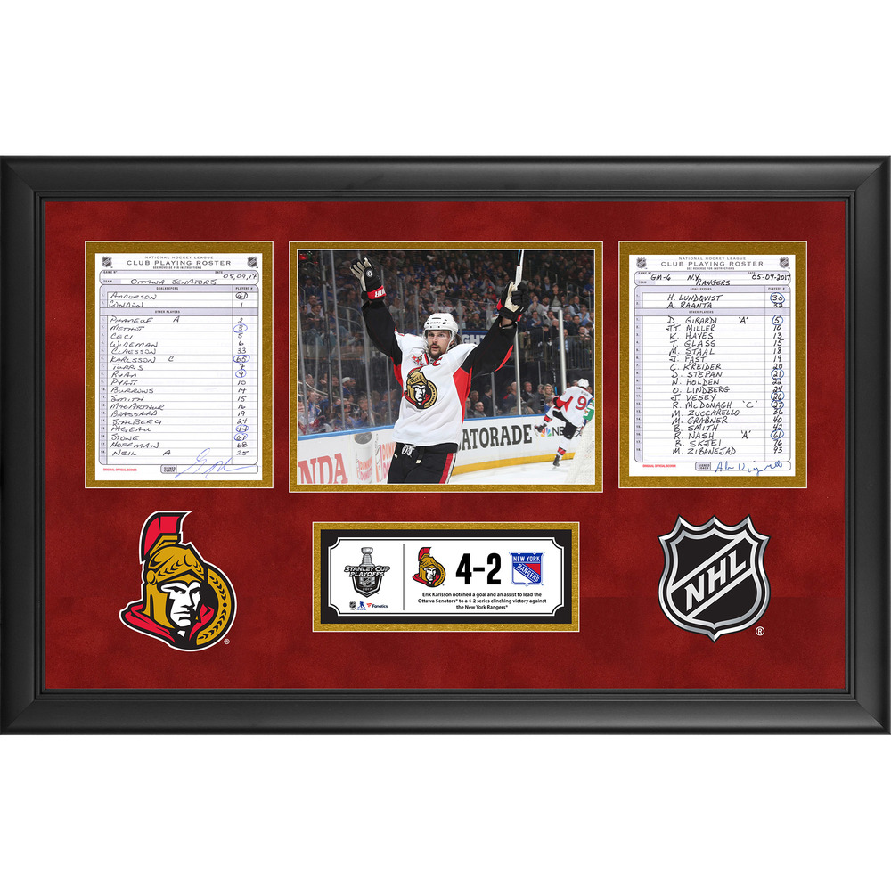 Ottawa Senators Framed Game-Used Playoffs Game 6 Line-Up Cards, May 9, 2017 vs. New York Rangers - Senators Series Clinch and Karlsson Two-Point Game