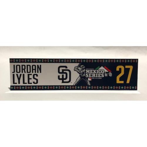 Photo of 2018 Mexico Series - Jordan Lyles Game-Used Locker Tag