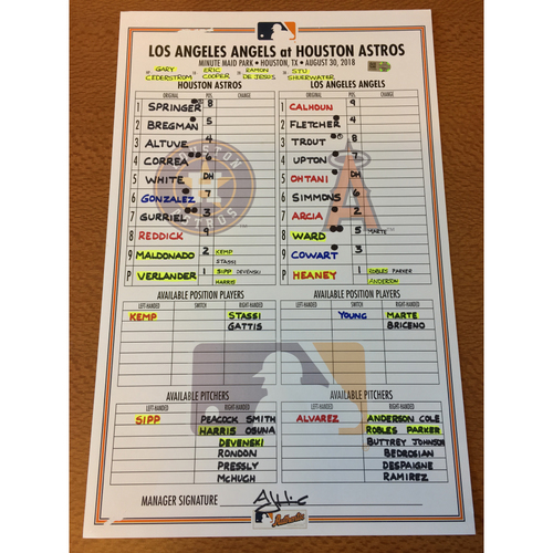 Photo of 2018 Game-Used Lineup Card - 8/30/18 vs LAA
