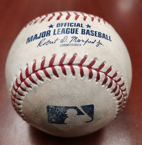 Photo of Authenticated Game Used Baseball - Marcus Walden strikes out Freddy Galvis (May 22, 19 vs BOS). Bottom 9