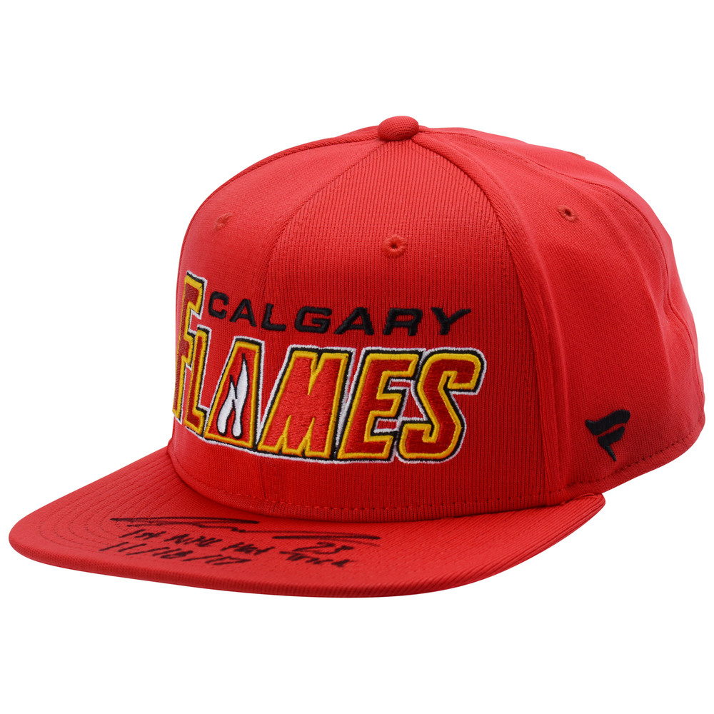 Sean Monahan Calgary Flames Autographed Red Fanatics Snapback Cap with
