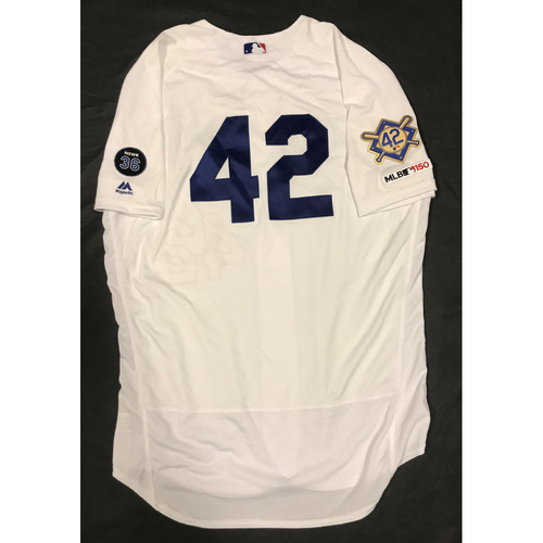Photo of 2019 Game Used Home #42 Jersey worn by #38 Coach Chris Giminez on 4/15 Jackie Robinson Day against Cin. Dodgers 4-3 victory against Cincinnati. Size-48