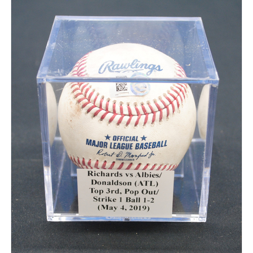 Photo of Game-Used Baseball: Trevor Richards vs Ozzie Albies/Josh Donaldson (ATL), Top 3rd, Pop Out/Strike - May 4, 2019