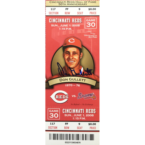 Photo of Don Gullett Signed Ticket