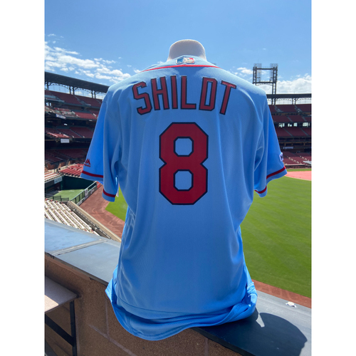Photo of Cardinals Authentics: Mike Shildt Team Issued Road Alternate Blue Jersey