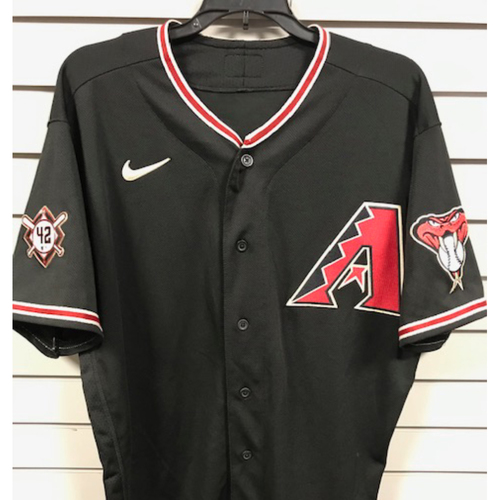 Photo of Christian Walker 2020 Game-Used Jackie Robinson Day Jersey, 8/28/20 San Francisco Giants at Arizona Diamondbacks: Walker went 1-3 with 2 RBI's and a Run Scored