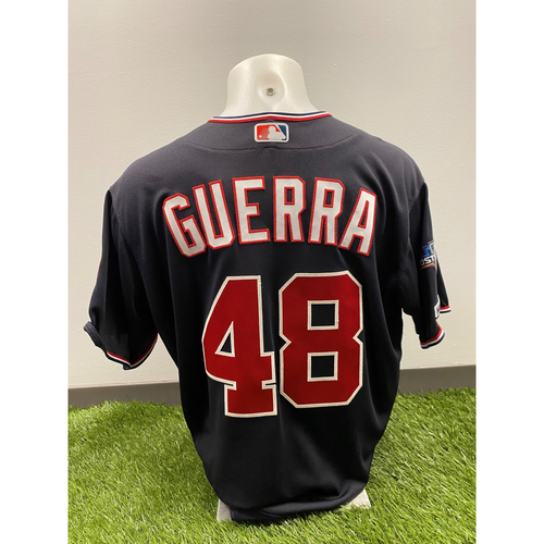 Photo of Team-Issued Javy Guerra 2019 Navy Script Jersey with Postseason Patch