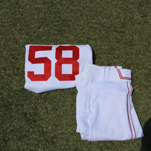 Photo of Game-Used & Autographed Monarchs Jersey & Game-Used Pants: Scott Barlow #58 (DET @ KC 5/23/21) - Size 46
