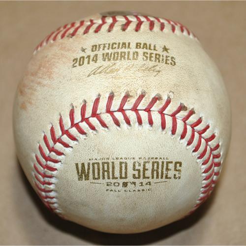 Photo of Game-Used Baseball - 2014 World Series Game 4 - Kansas City Royals vs. San Francisco Giants - Batter: Buster Posey, Pitcher: Jason Vargas - Ball in Dirt, Bot 1