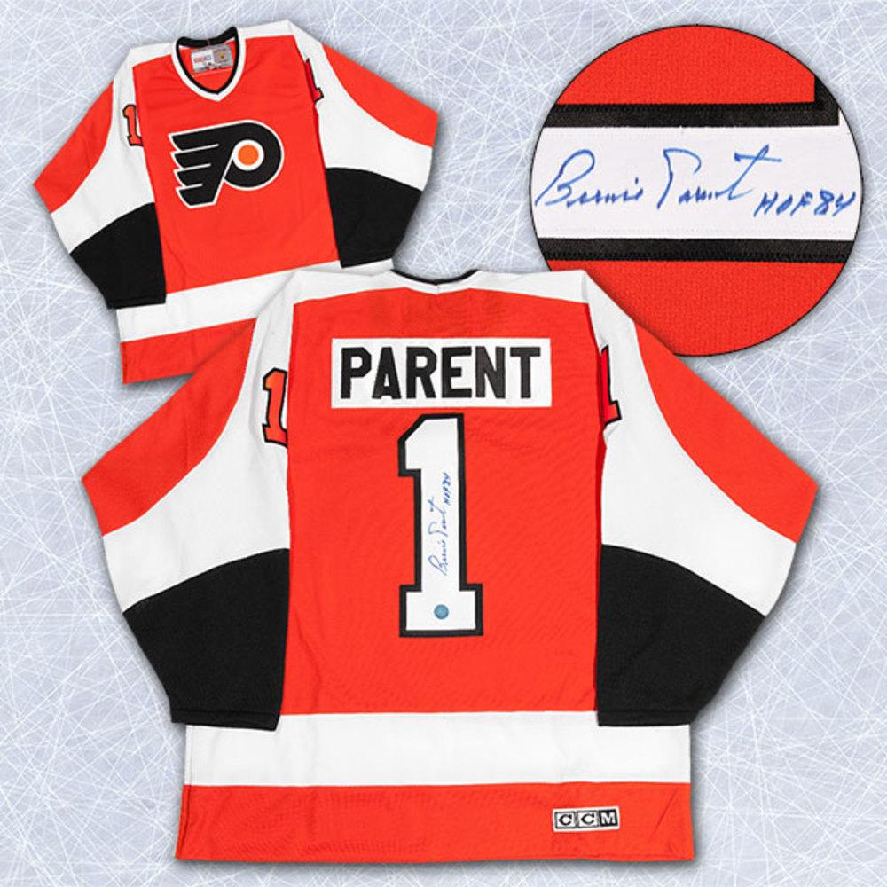 Bernie Parent Philadelphia Flyers Autographed Retro CCM Hockey Jersey w HOF Note