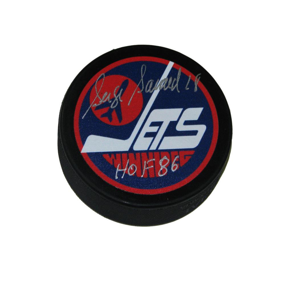 SERGE SAVARD Signed Winnipeg Jets Puck - HOF