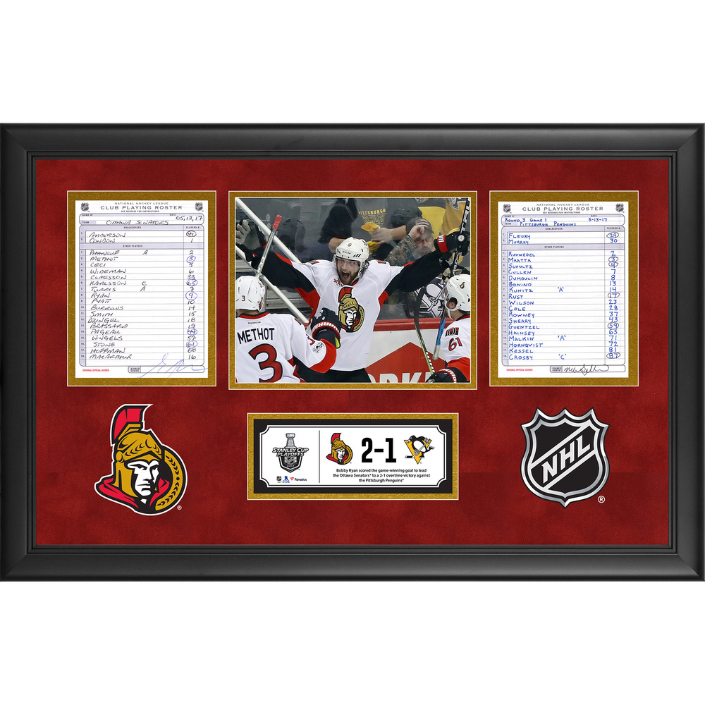 Ottawa Senators Framed Game-Used Playoffs ECF Game 1 Line-Up Cards, May 13, 2017 vs. Pittsburgh Penguins - Bobby Ryan's Overtime Game-Winning Goal