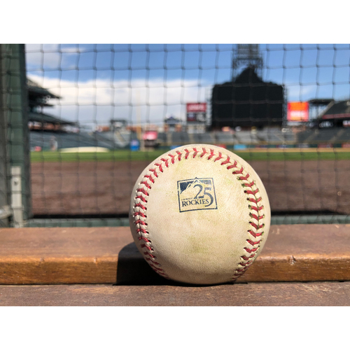 Photo of Colorado Rockies Game-Used Baseball - Pounders v. Perez - Double to Dahl - May 13, 2018