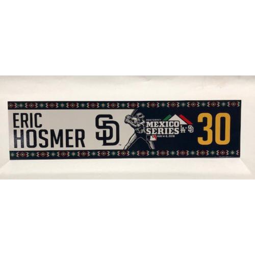 Photo of 2018 Mexico Series - Eric Hosmer Game-Used Locker Tag