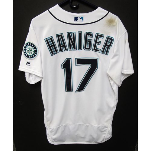 Photo of Seattle Mariners Mitch Haniger Game Used 2018 White Jersey (5/29/18)