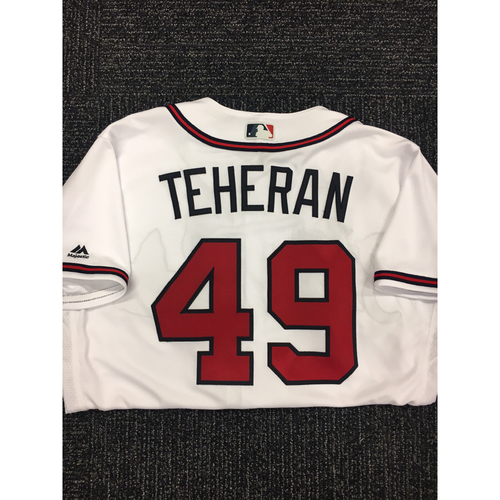 Photo of Julio Teheran Autographed, Game Used Los Bravos Jersey