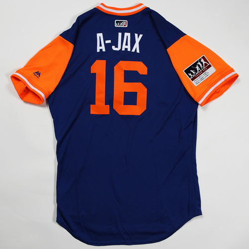 "Photo of Austin ""A-Jax"" Jackson New York Mets Game-Used Jersey 2018 Players' Weekend Jersey"