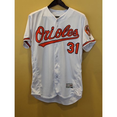 Photo of Jimmy Yacabonis Game-Used Home Jersey Worn on September 30, 2018 vs Houston. Yacabonis Pitched 4 Scoreless Innings, Recording 1 Strikeout and Allowing 1 Hit. Size 48.