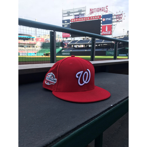 Photo of Game-Used Juan Soto 2018 Home Red Cap