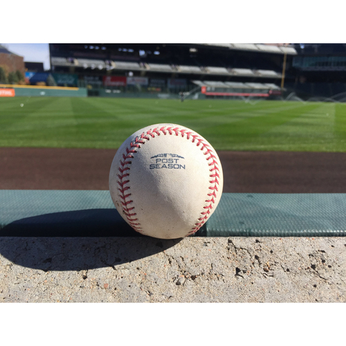 Photo of Colorado Rockies Game-Used NLDS Baseball - Seung Hwan Oh v. Jesus Aguilar - Flyout to Holliday - October 7, 2018
