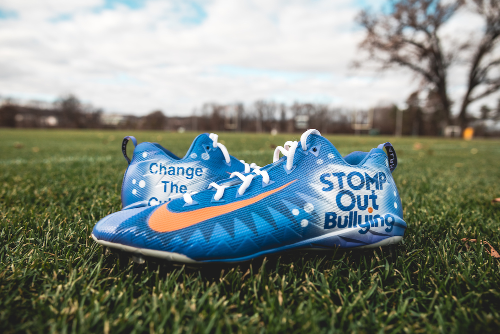 My Cause My Cleats - Jets Thomas Hennessy Game Worn Custom Cleats - Stomp Out Bullying