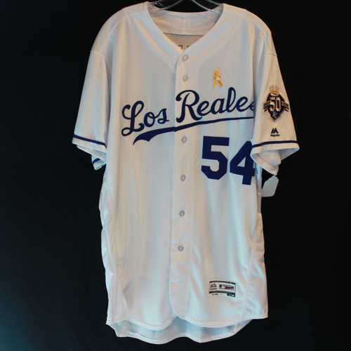 Photo of Game-Used Los Reales Jersey: Tim Hill (Size 48- BAL @ KC - 9/01/18)