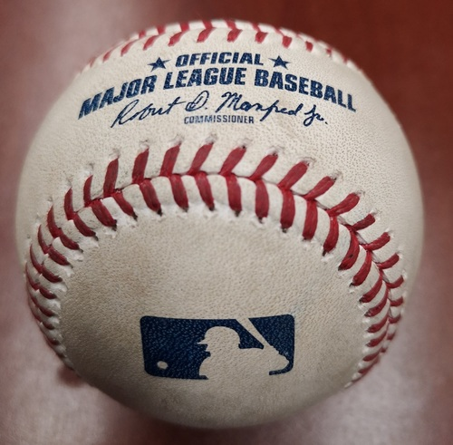 Photo of Authenticated Game Used Baseball - Strikeout of Josh Naylor by Derek Law (May 25, 2019 vs SDP). Top 6. Naylor recorded his 1st MLB Hit in the Game