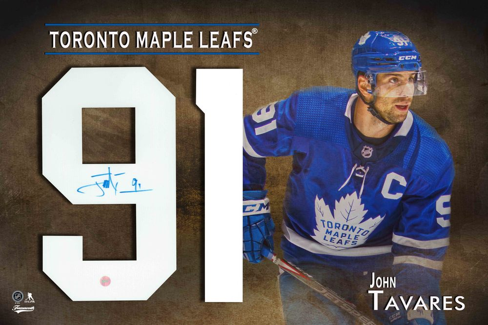 John Tavares Signed Numbers Framed Print Maple Leafs Blue with